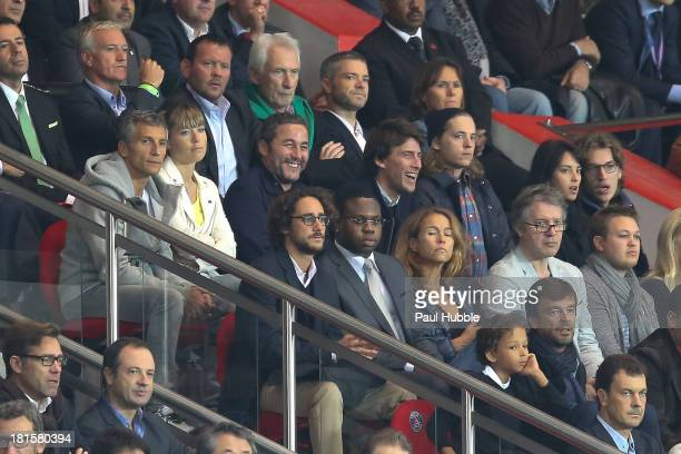Didier Deschamps Nagui and his wife Melanie Page Pierre Sarkozy Jean Sarkozy and his wife Jessica and Thomas Hollande are seen during the Paris Saint...