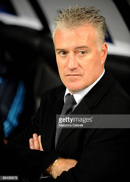 Didier Deschamps of Olympique de Marseille in action during the UEFA Champions League Group C match between AC Milan and Olympique de Marseille on...