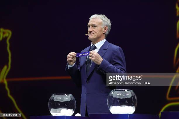 Didier Deschamps picks out Australia during the FIFA Women's World Cup France 2019 Draw at La Seine Musicale on December 8 2018 in Paris France