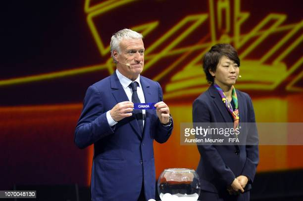 Didier Deschamps picks out Canada during the FIFA Women's World Cup France 2019 Draw at La Seine Musicale on December 8 2018 in Paris France