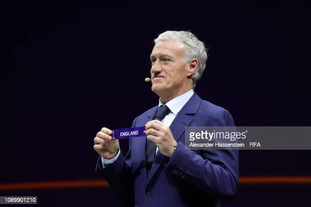 Didier Deschamps picks out England during the FIFA Women's World Cup France 2019 Draw at La Seine Musicale on December 8 2018 in Paris France