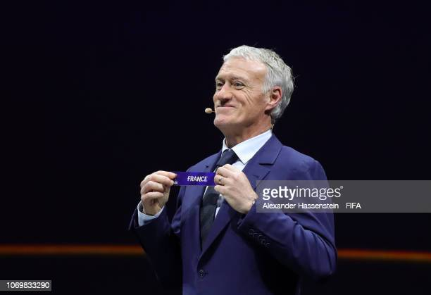 Didier Deschamps picks out France during the FIFA Women's World Cup France 2019 Draw at La Seine Musicale on December 8 2018 in Paris France