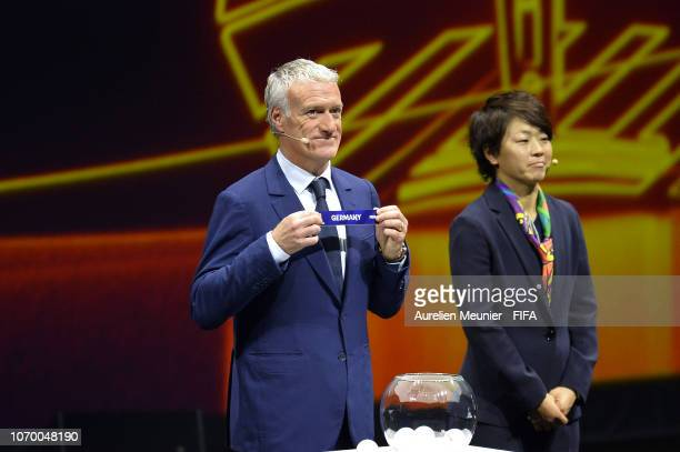 Didier Deschamps picks out Germany during the FIFA Women's World Cup France 2019 Draw at La Seine Musicale on December 8 2018 in Paris France