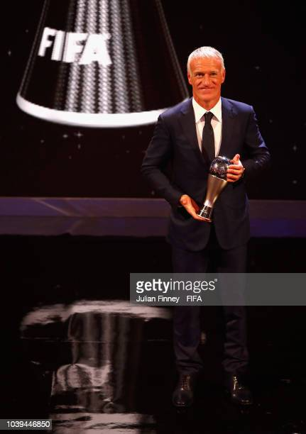 Didier Deschamps pose for a photo with his award during The Best FIFA Football Awards at Royal Festival Hall on September 24 2018 in London England