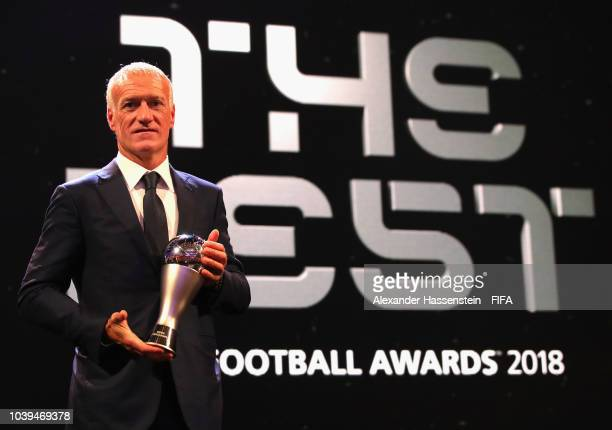 Didier Deschamps pose for a photo with his The Best FIFA Men's Coach Award during The Best FIFA Football Awards at Royal Festival Hall on September...