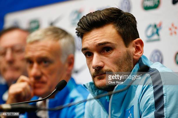 Didier Deschamps the head coach of France and Hugo Lloris the captain of France address the media during the France Press Conference at Wembley...