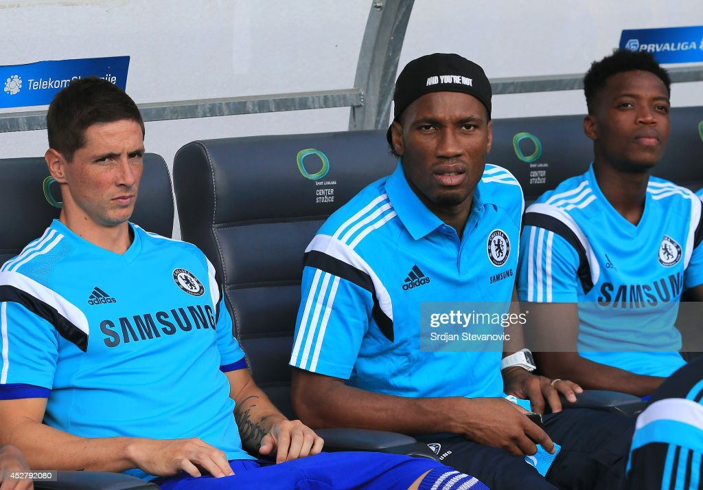Didier Drogba (R) and Fernando Torres (C) of Chelsea looks on prior the Pre Season Friendly match between FC Olimpija Ljubljana and Chelsea at Stozice stadium in Ljubljana, Slovenia on Sunday, July 27, 2014.