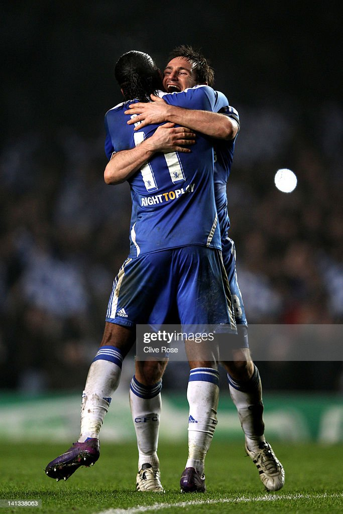 Didier Drogba and Frank Lampard of Chelsea celebrate their team's victory after the final whistle during the UEFA Champions League round of 16 second leg match between Chelsea FC and SSC Napoli Stamford Bridge on March 14, 2012 in London, England.