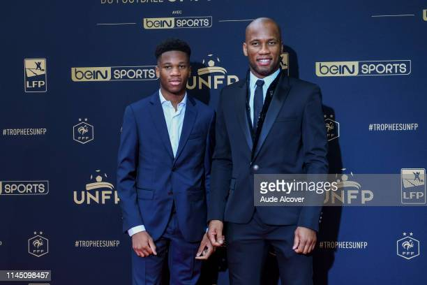 Didier Drogba and his son during the UNFP Trophy 2019 at Studio Gabriel on May 19 2019 in Paris France