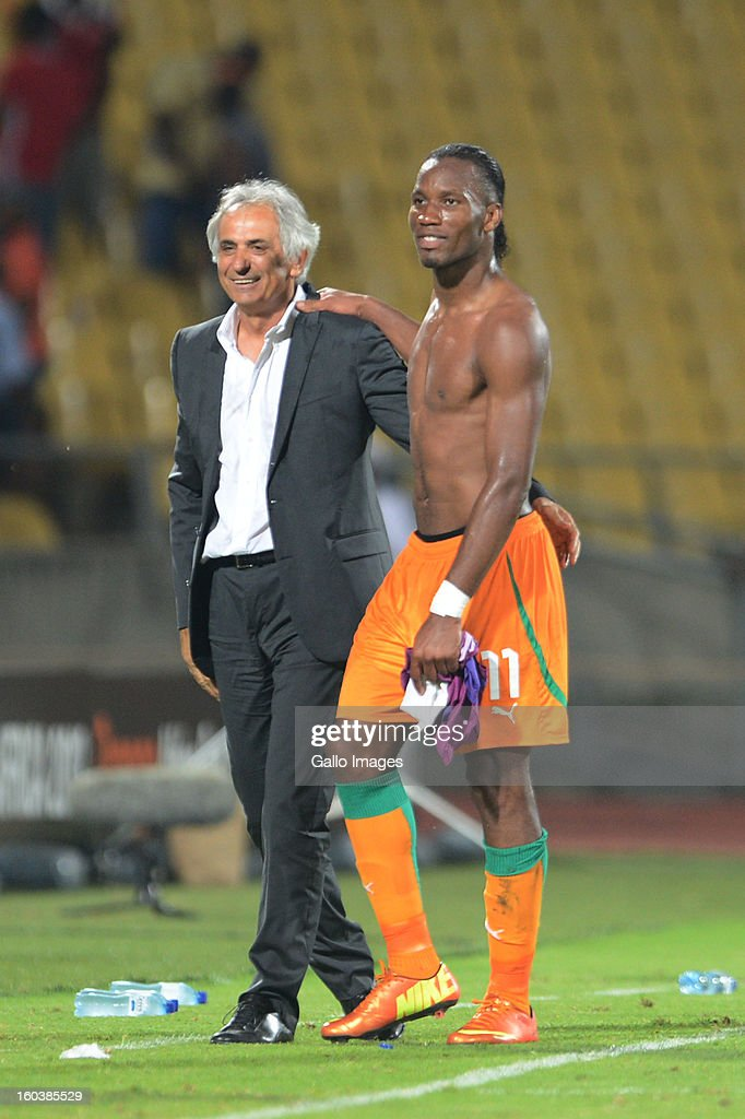 Didier Drogba and Vahid Halilhodzic from Bosnia during the 2013 African Cup of Nations match between Algeria and Ivory Coast at Royal Bafokeng Stadium on January 30, 2013 in Rustenburg, South Africa.