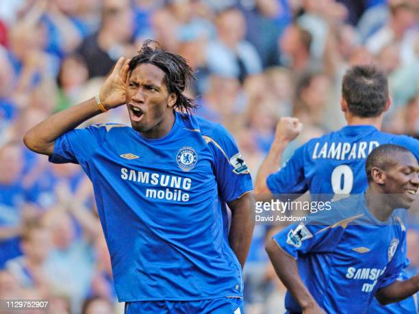 Didier Drogba celebrates after scoring Chelsea v Bolton Wanderers Premier League at Stamford Bridge 15th October 2005