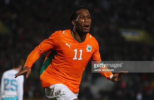 Didier Drogba celebrates his goal for the Ivory Coast during the International Friendly match between Turkey and the Ivory Coast at the Izmir Ataturk...