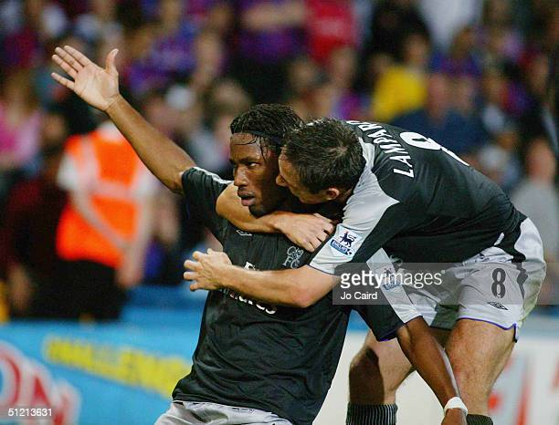 Didier Drogba celebrates with Frank Lampard during the Barclays Premiership match between Crystal Palace and Chelsea at Selhurst Park on August 24,...