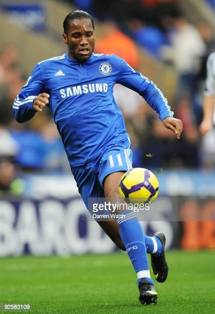 Didier Drogba in action during the Barclays Premier League match between Bolton and Chelsea at the Reebok Stadium on October 31 2009 in Bolton England