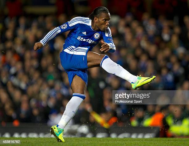 Didier Drogba in action for Chelsea during the UEFA Champions League group E match between Chelsea FC and Valencia CF at Stamford Bridge on December...