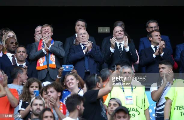 Didier Drogba, King Willem-Alexander of the Netherlands, Royal Dutch Football Association KNVB President Michael van Praag, FIFA President Gianni...