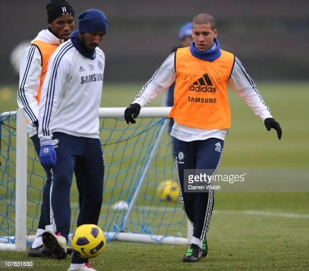 Didier Drogba, Nicolas Anelka, Jeffrey Bruma of Chelsea during a training session at the Cobham training ground on December 31, 2010 in Cobham,...