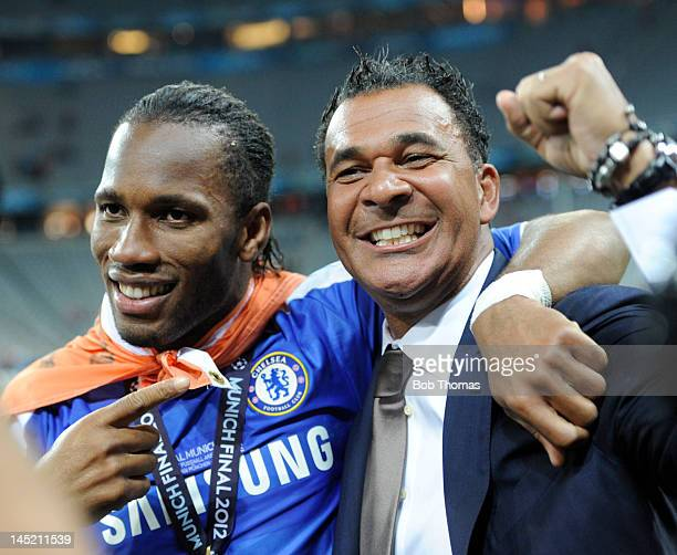 Didier Drogba of Chelsea and former Chelsea manager Ruud Gullit celebrate after the UEFA Champions League Final between FC Bayern Munich and Chelsea...