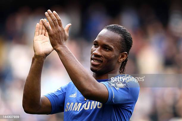 Didier Drogba of Chelsea applauds the fans during the Barclays Premier League match between Chelsea and Blackburn Rovers at Stamford Bridge on May...