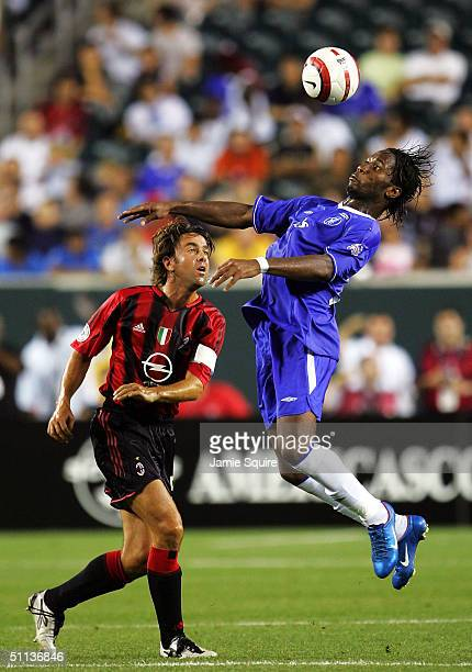 Didier Drogba of Chelsea battles Alessandro Costacurta of AC Milan during the Championsworld Series game at Lincoln Financial Field on August 2 2004...