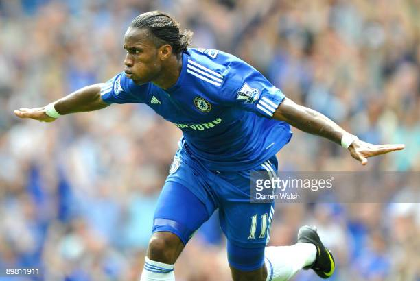 Didier Drogba of Chelsea celebrates after scoring against Hull City during the Barclays Premier League match between Chelsea and Hull City at...