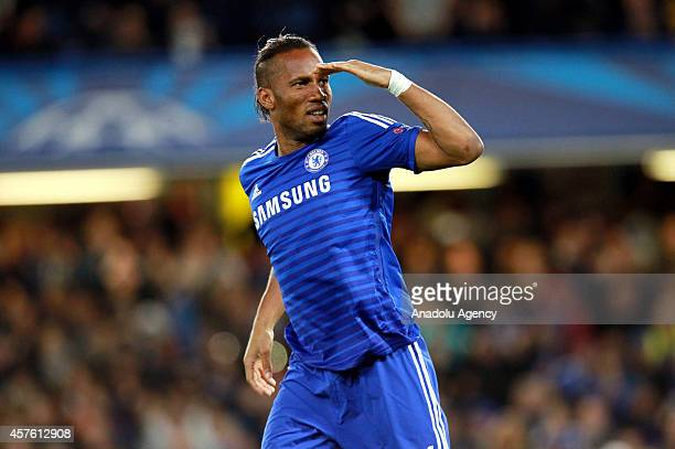 Didier Drogba of Chelsea celebrates after scoring during the UEFA Champions League Group G game between Chelsea and Maribor at the Stamford Bridge on...