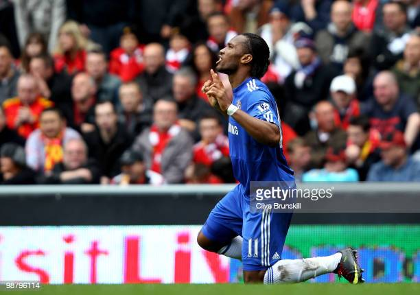 Didier Drogba of Chelsea celebrates after scoring the opening goal during the Barclays Premier League match between Liverpool and Chelsea at Anfield...