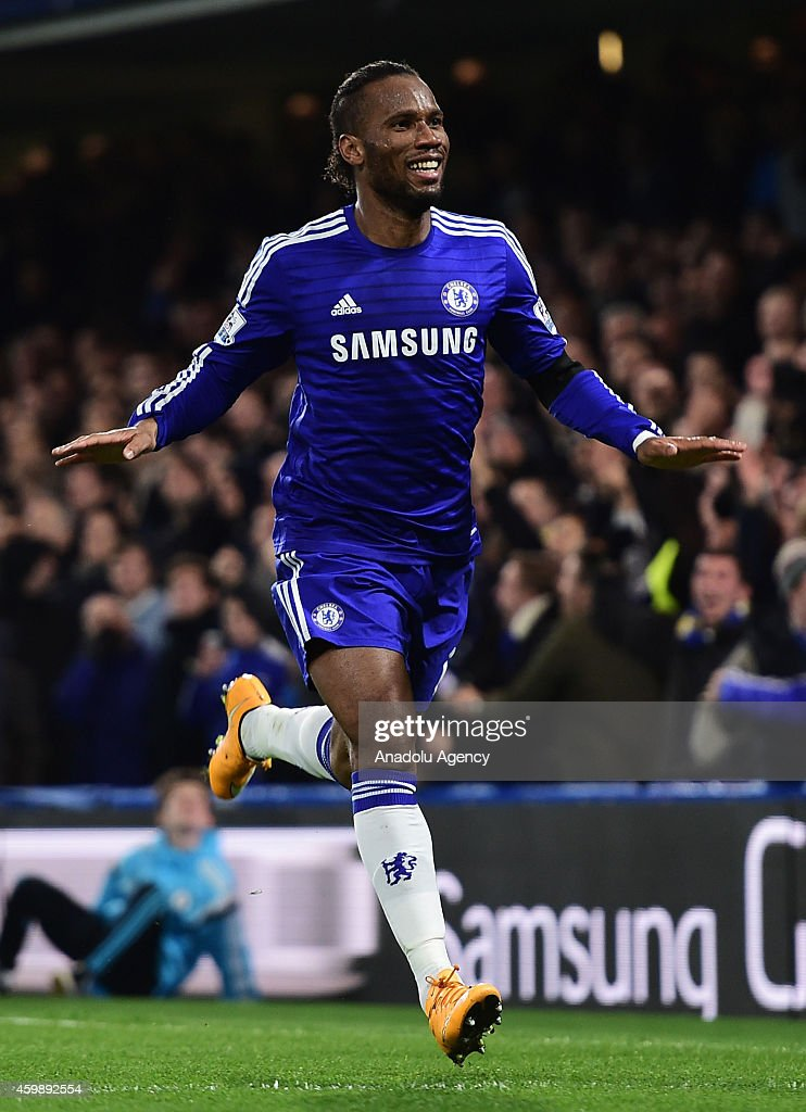Didier Drogba of Chelsea celebrates after scoring the second goal during the Barclays Premier League match between Chelsea and Tottenham Hotspur at Stamford Bridge in London, England on December 03, 2014.