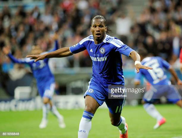 Didier Drogba of Chelsea celebrates after scoring their equalising goal in the 88th minute of the UEFA Champions League Final between FC Bayern...