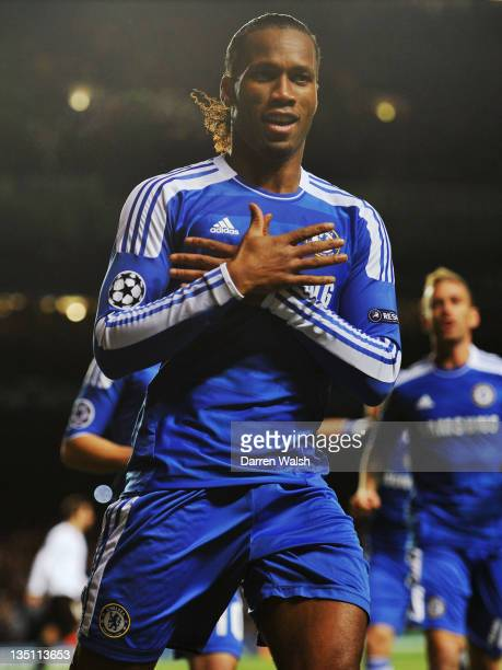 Didier Drogba of Chelsea celebrates as he scores their first goal during the UEFA Champions League Group E match between Chelsea FC and Valencia CF...