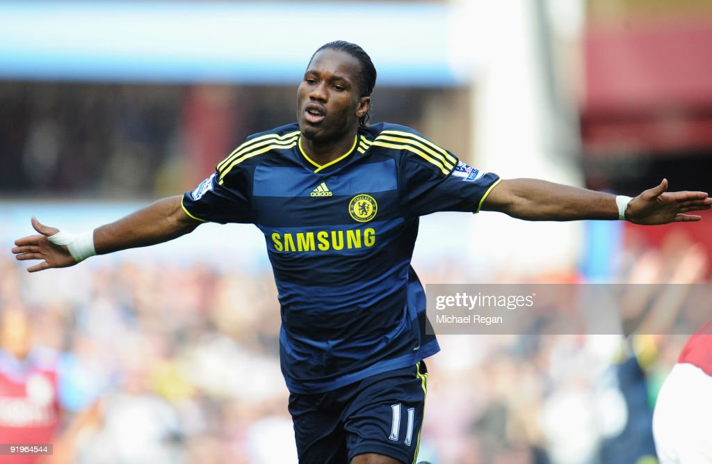 Didier Drogba of Chelsea celebrates as he scores their first goal during the Barclays Premier League match between Aston Villa and Chelsea at Villa Park on October 17, 2009 in Birmingham, England.