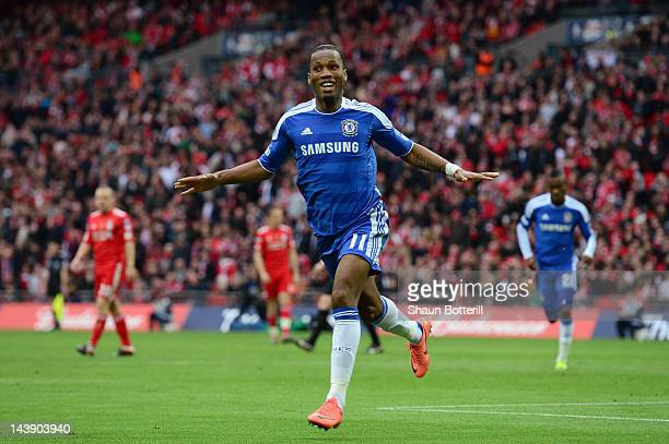 Didier Drogba of Chelsea celebrates as he scores their second goal during the FA Cup with Budweiser Final match between Liverpool and Chelsea at...