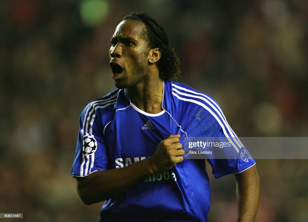Didier Drogba of Chelsea celebrates at the end of the UEFA Champions League Semi Final, first leg match between Liverpool and Chelsea at Anfield on April 22, 2008 in Liverpool, England.
