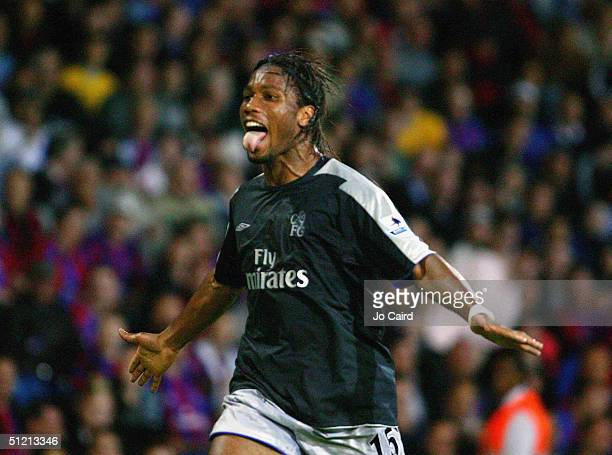 Didier Drogba of Chelsea celebrates during the Barclays Premiership match between Crystal Palace and Chelsea at Selhurst Park on August 24 2004 in...