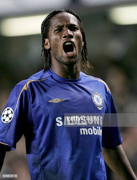 Didier Drogba of Chelsea celebrates during the UEFA Champions League Group G match between Chelsea and Real Betis at Stamford Bridge on October 19,...