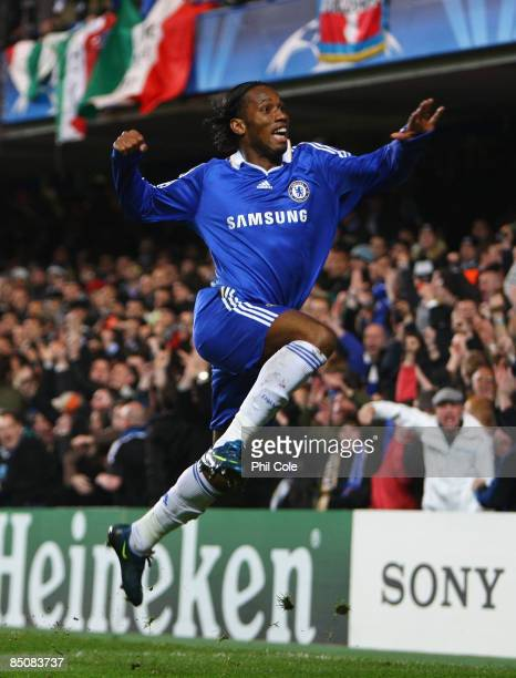 Didier Drogba of Chelsea celebrates his opening goal during the UEFA Champions League, Round of Last 16, First Leg match between Chelsea and Juventus...