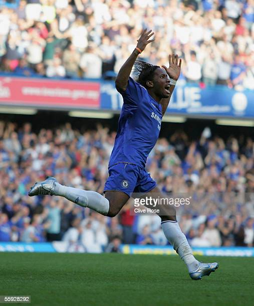 Didier Drogba of Chelsea celebrates scoring during the Barclays Premiership match between Chelsea and Bolton Wanderers at Stamford Bridge on October...