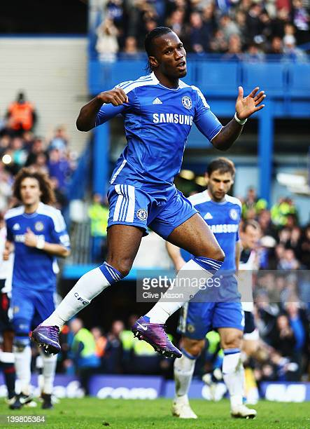 Didier Drogba of Chelsea celebrates scoring his sides second goal during the Barclays Premier League match between Chelsea and Bolton Wanderers at...