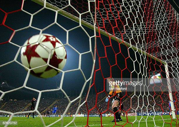 Didier Drogba of Chelsea celebrates scoring his teams second goal during the UEFA Champions League quarter final second leg match between Bayern...