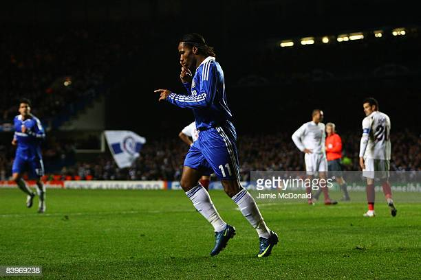Didier Drogba of Chelsea celebrates scoring his team's second goal during the UEFA Champions League match between Chelsea and CFR 1907 ClujNapoca at...