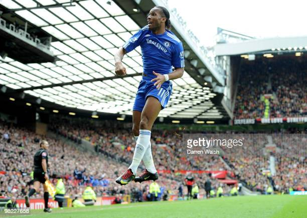 Didier Drogba of Chelsea celebrates scoring his team's second goal during the Barclays Premier League match between Manchester United and Chelsea at...