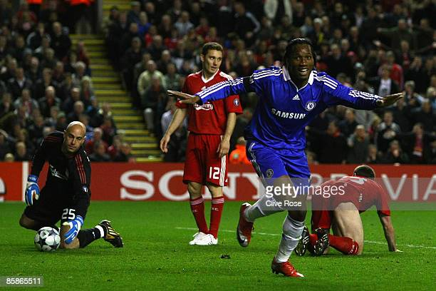 Didier Drogba of Chelsea celebrates scoring his team's third goal during the UEFA Champions League Quarter Final First Leg match between Liverpool...