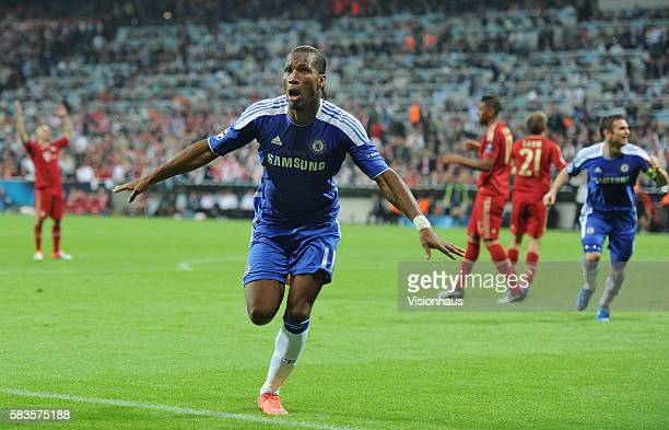 Didier Drogba of Chelsea celebrates scoring the equaliser during the UEFA Champions League Final between Bayern Munich and Chelsea at the Allianz...