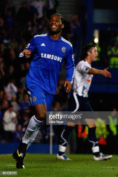 Didier Drogba of Chelsea celebrates scoring the fourth goal during the Carling Cup 4th Round match between Chelsea and Bolton Wanderers at Stamford...