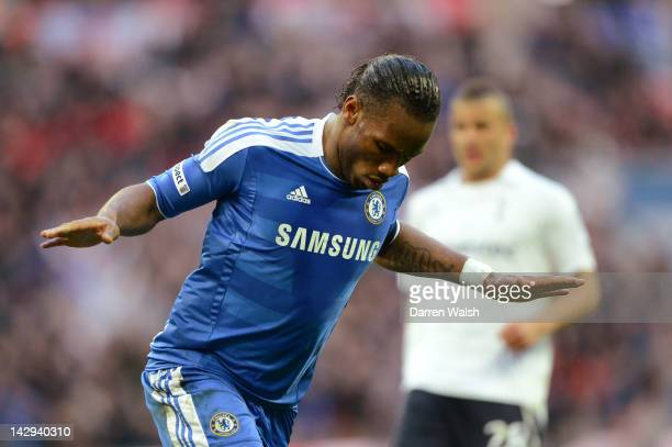 Didier Drogba of Chelsea celebrates scoring the opening goal during the FA Cup with Budweiser Semi Final match between Tottenham Hotspur and Chelsea...
