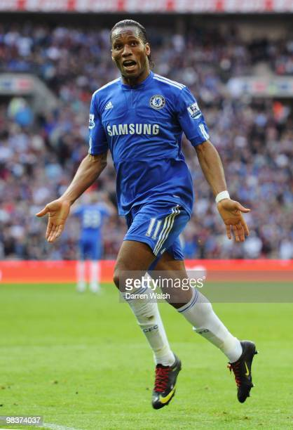 Didier Drogba of Chelsea celebrates scoring the opening goal during the FA Cup sponsored by E.ON Semi Final match between Aston Villa and Chelsea at...