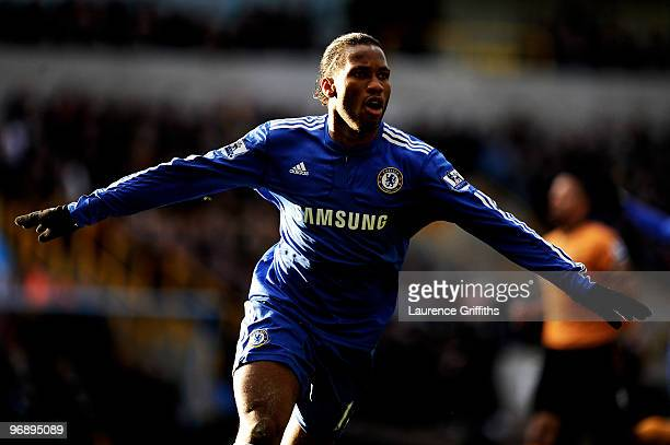 Didier Drogba of Chelsea celebrates scoring the second goal of the game during the Barclays Premier League match between Wolverhampton Wanderers and...