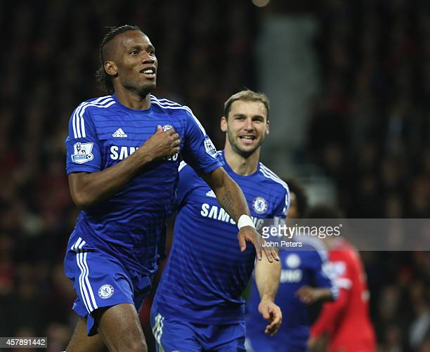 Didier Drogba of Chelsea celebrates scoring their first goal during the Barclays Premier League match between Manchester United and Chelsea at Old...