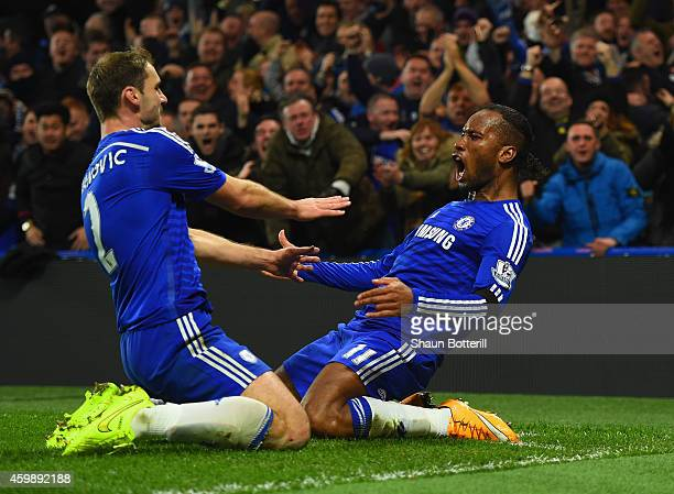 Didier Drogba of Chelsea celebrates scoring their second goal with Branislav Ivanovic of Chelsea during the Barclays Premier League match between...