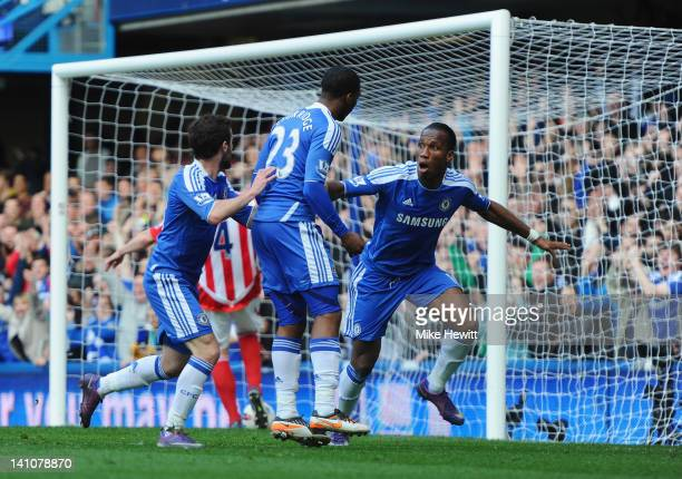 Didier Drogba of Chelsea celebrates the opening goal during the Barclays Premier League match between Chelsea and Stoke City at Stamford Bridge on...